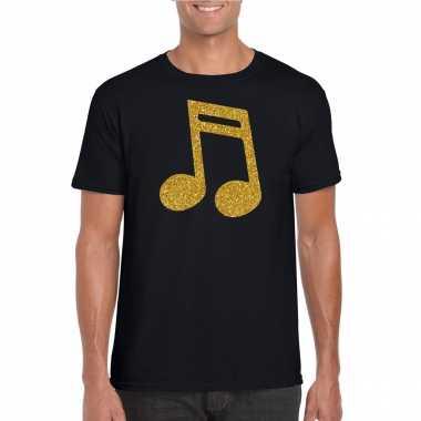 Gouden muziek noot / muziek feest t shirt / carnavalspak zwart heren