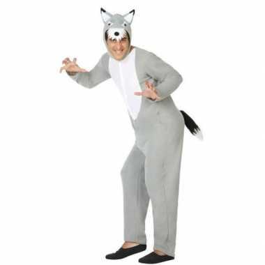 Grijze wolf dieren verkleed carnavalspak/onesie voor volwassenen