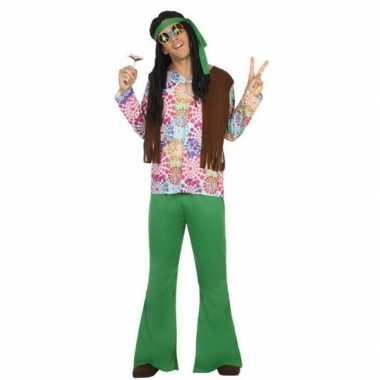 Groen/bruine hippie/flower power carnavalspak voor heren