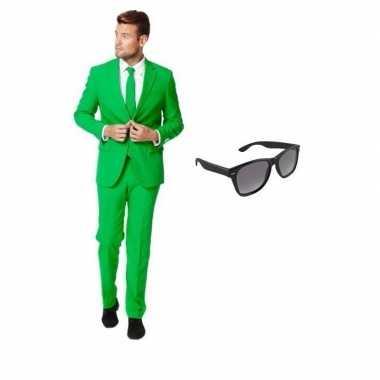 Groen heren carnavalspak maat 52 (xl) met gratis zonnebril