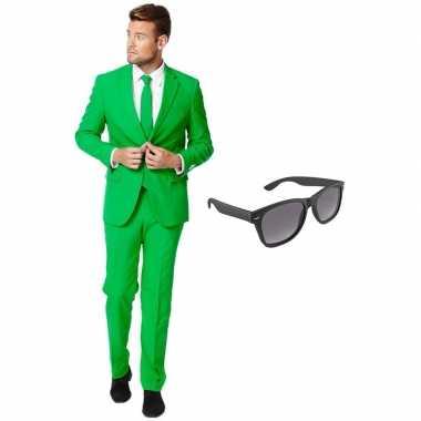 Groen heren carnavalspak maat 54 (xxl) met gratis zonnebril