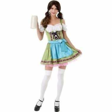 Groen oktoberfest jurkje/dirndl carnavalspak voor dames