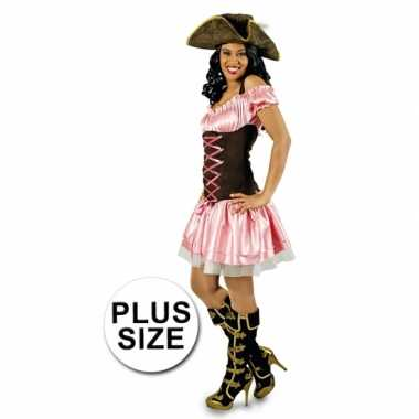 Grote maat carnavalspak roze piratenjurkje