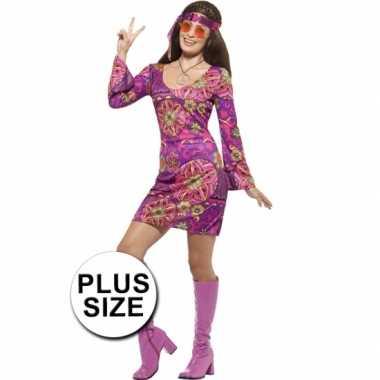 Grote maat feest hippie verkleedcarnavalspak voor dames