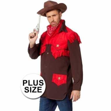 Grote maten feest cowboy carnavalspak shirt voor heren