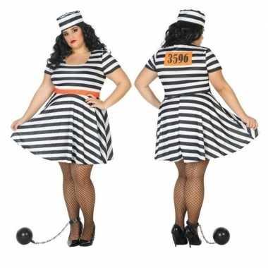 Grote maten gevangene/boef bonnie verkleed carnavalspak voor dames