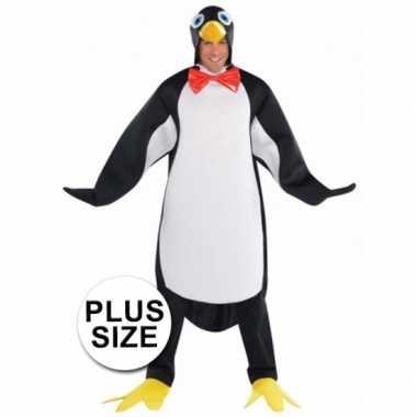 Grote maten pinguin carnavalspak voor heren