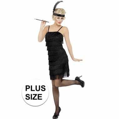 Grote maten zwart flapper jaren 20 carnavalspak voor dames