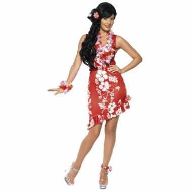 Hawaii carnavalspak dames jurkje rood