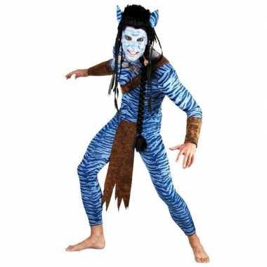 Heren blauwe jungle strijder carnavalspak
