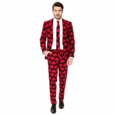 Heren verkleed pak/carnavalspak rode hartjes print