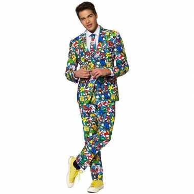 Heren verkleed pak carnavalspak super mario print