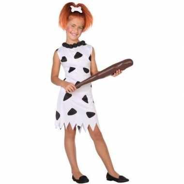 Holbewoonster/cavewoman wilma verkleed carnavalspak/jurk voor meisjes