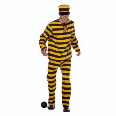 Inbreker carnavalspak zwart/geel voor heren