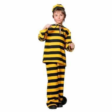 Inbreker carnavalspak zwart/geel voor kinderen
