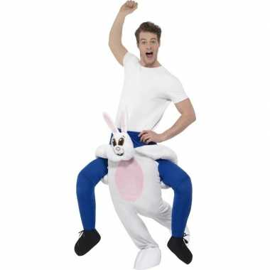 Instap dierenpak carnavalspak konijn/haas voor volwassenen