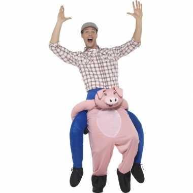 Instap dierenpak carnavalspak varken voor volwassenen