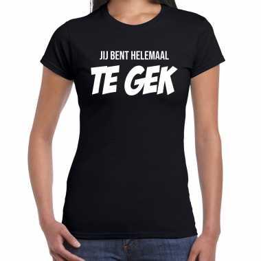 Jij bent helemaal te gek fun tekst t shirt / carnavalspak zwart voor dames