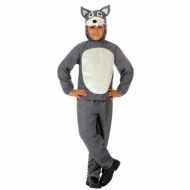 Kinder carnavalspak grijs wolfje