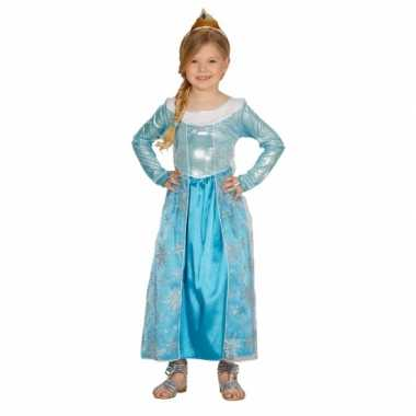 Kindercarnavalspak blauw prinses jurkje