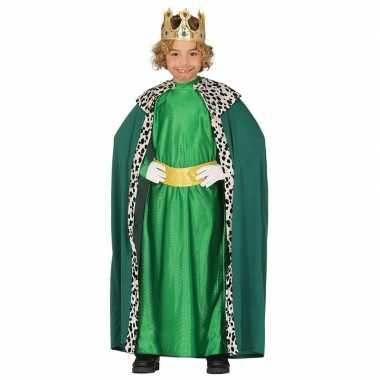 Koning mantel groen verkleedcarnavalspak voor kinderen