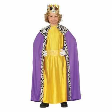 Koning mantel paars met geel verkleedcarnavalspak voor kinderen