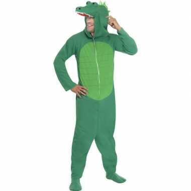 Krokodil onesie carnavalspak voor volwassenen