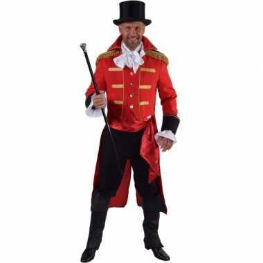 Luxe circus directeur carnavalspak rood voor heren
