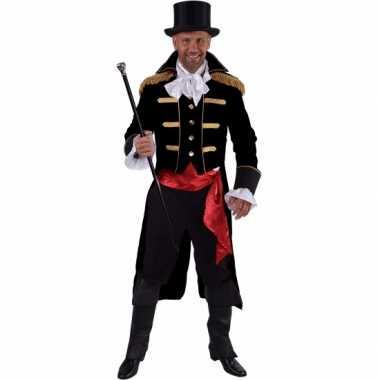 Luxe circus directeur carnavalspak zwart voor heren
