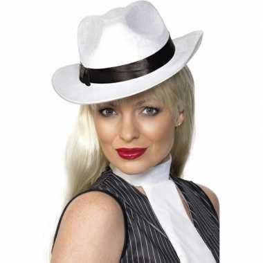 Luxe witte carnaval gangster hoeden
