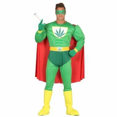Marihuana man superheld verkleed carnavalspak voor heren