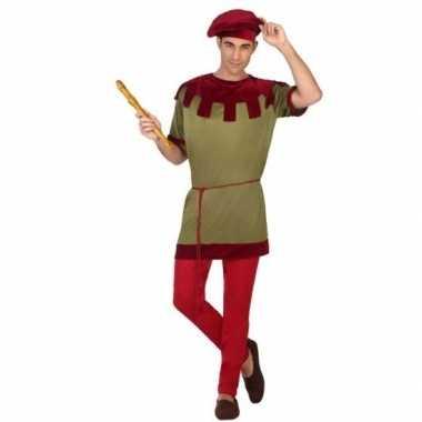 Middeleeuws page verkleed carnavalspak voor heren