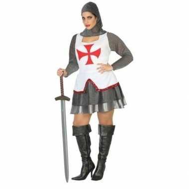 Middeleeuwse ridder verkleed carnavalspak/jurk wit/rood voor dames