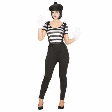 Mime speler/clown verkleedcarnavalspak voor dames