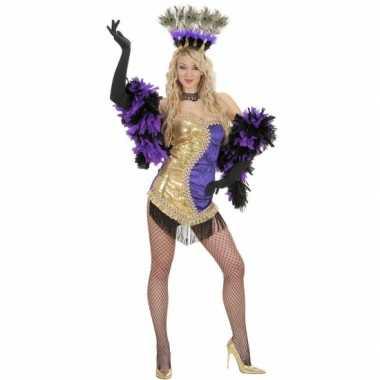 Moulin rouge carnavalspak goud paars