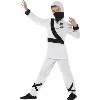 Ninja carnavalspak wit/zwart voor kinderen