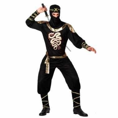 Ninja vechter verkleed carnavalspak zwart/goud voor heren