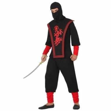 Ninja vechter verkleed carnavalspak zwart/rood voor heren