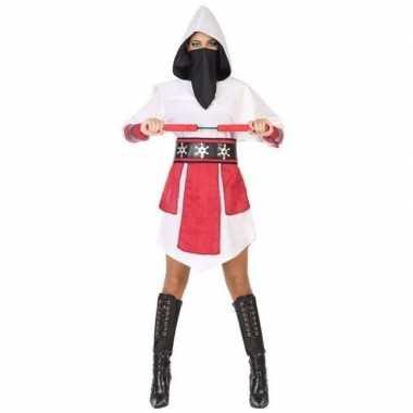 Ninja vechter verkleed jurk/carnavalspak wit/rood voor dames