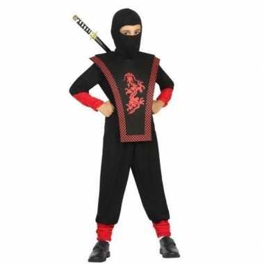 Ninja verkleed carnavalspak zwart/rood voor jongens