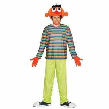 Oranje pop ernie verkleed carnavalspak voor heren