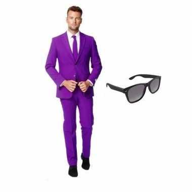 Paars heren carnavalspak maat 52 (xl) met gratis zonnebril