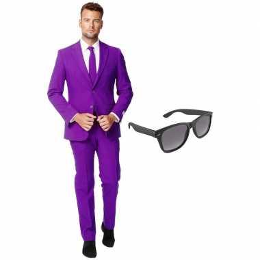Paars heren carnavalspak maat 56 (xxxl) met gratis zonnebril