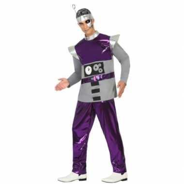 Paars robot carnavalspak voor heren