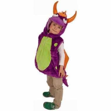 Paarse drakencarnavalspak voor kinderen