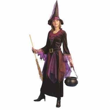 Paarse heksen carnavalspak voor dames