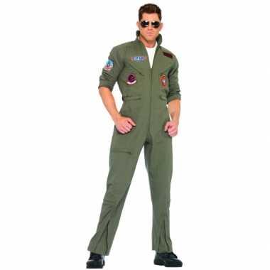 Piloten carnavalspaklen in armygreen