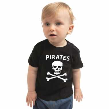 Piraten carnavalspak shirt zwart voor babys