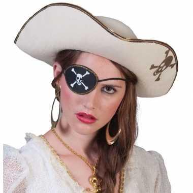 Piratencarnavalspak accessoires witte piratenhoed met schedel