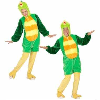 Pluche groene vogel carnavalspak